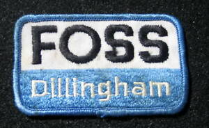 FOSS-DILLINGHAM-EMBROIDERED-SEW-ON-ONLY-PATCH-ADVERTISING-UNIFORM-3-1-4-034-x-2-034