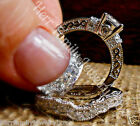 Sterling Silver 14k White Gold Round Diamond Engagement Ring 2pc Set Womens sz11
