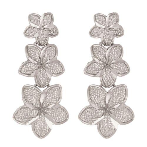 14k Blanc Ou Or Rose Hawaïen Plumeria Flower Pendants d/'oreilles