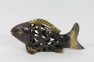 Skulptur-Figur-Bronze-teilpoliert-durchbrochen-Fisch