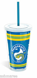 NRL-Parramatta-Eels-Plastic-Tumbler-Cup-with-Lid-amp-Drinking-Straw