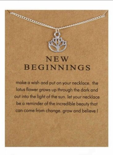 SILVER TONE NEW BEGINNINGS SAME DAY FREE  POST LOTUS FLOWER /& MESSAGE ON CARD