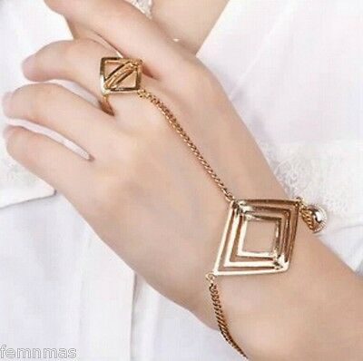 FemNmas Golden Celebrity Ring Chain Bracelet