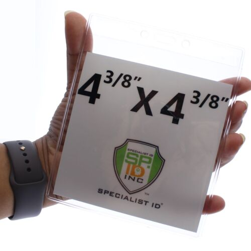 """10 Pack Max- 4 3//8 X 4 3//8 by Specialist ID 4/"""" X 4/"""" Large Vinyl Badge Holders"""