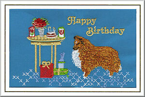 Old English Sheepdog Birthday Card by Dogmania Embroidery FREE PERSONALISATION