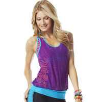 Zumba Wear Fitness Cut Me Loose Bubble Top Racerback Xl/xxl Purple/blue