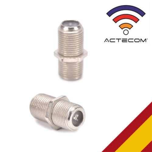 ACTECOM® CONECTOR F EMPALME ROSCADO CABLE COAXIAL ANTENA TV SATELITE RG6 METAL