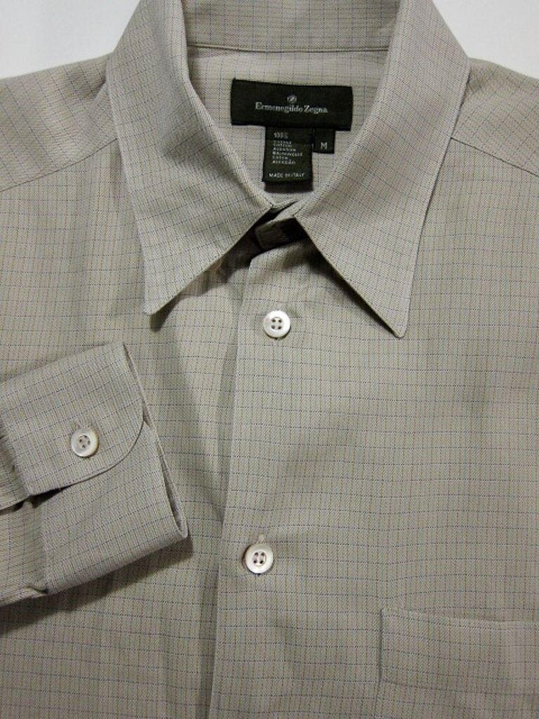 GORGEOUS Ermenegildo Zegna Tan Windowpane Cotton Shirt 15.5x30