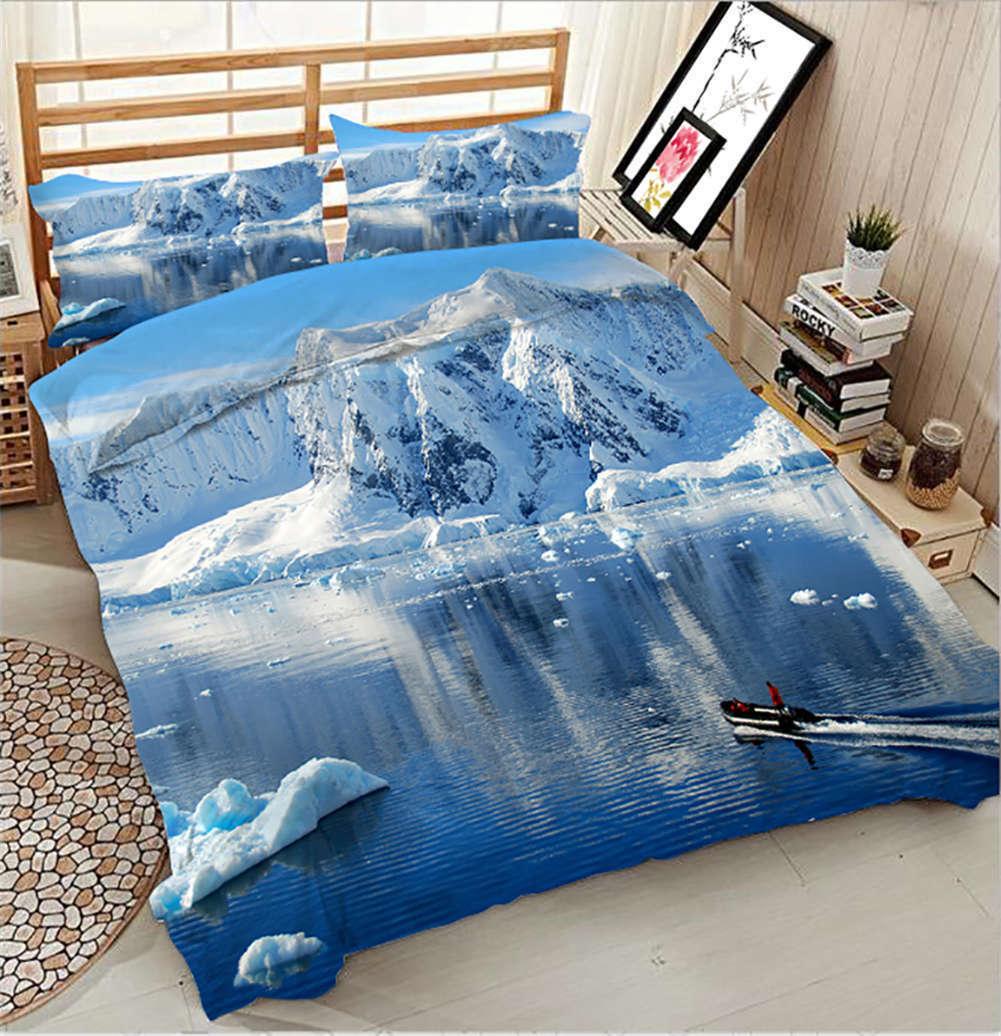 Cold Glacier 3D Printing Duvet Quilt Doona Covers Pillow Case Bedding Sets