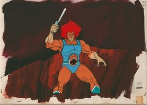 ThunderCats-Prod-Cel-and-Prod-Background-1985-Lion-O-sword-raised-Rankin-Bass