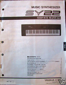 Details about Yamaha SY22 Vector Music Synthesizer Keyboard Original  Service Manual Schematics