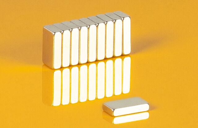 10 Neodym Magnete 10 x 5,5 x 2,5 mm Quader N50 10x5,5x2,5mm Supermagnete Hobby