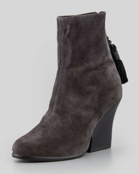 Rag & Bone Tacita Tassel Wedge Ankle Boot NEW $695 Suede 9.5 39.5 Asphalt GREY