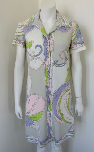 Vintage MR. DINO Abstract Print Shirt Dress Size 1