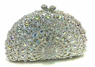 Silver/WhiteAB Peacock Handmade Austrian Crystal Bridal Evening Cocktail Bag