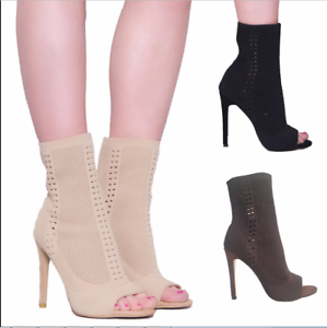 Fashion-Women-Stiletto-High-Heel-Ankle-Boots-Knit-Stretch-Peep-Toe-Shoes-Booties