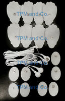 2 Electrode Lead Cable(3.5mm)+massage Pads (8lg+8oval) For Erostek Estim Tens