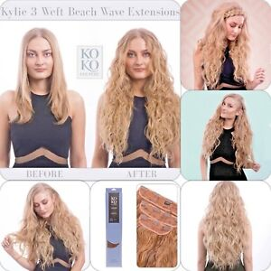 Koko-Couture-Thick-3-Piece-Beach-Wave-20-034-Clip-in-Curly-Hair-Extension-Weft