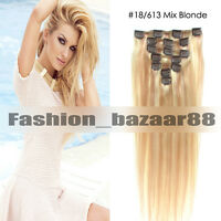 7Pcs Soft Clip in 100% Remy Human Hair Extensions #18/613 Mix Blonde Any Length