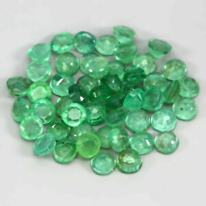 7.06 Carats NATURAL 50pcs Green EMERALD Loose for Jewelry Set Round 3mm Brazil