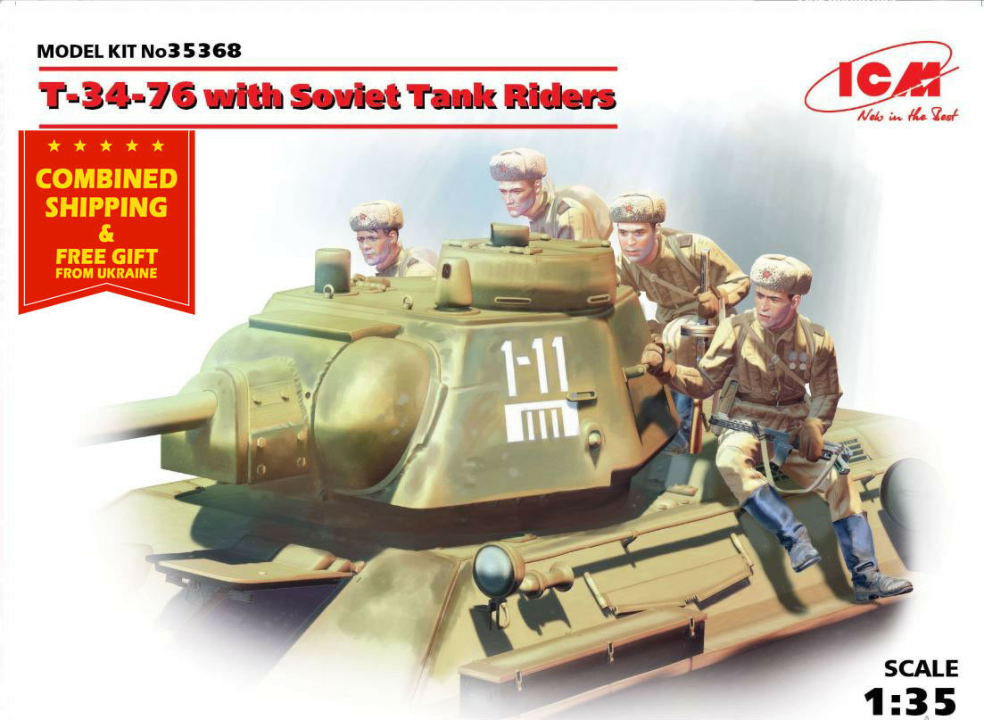 T-34-76 WITH SOVIET MEDIUM TANK RIDERS WWII scale model kit  1 35 ICM 35368