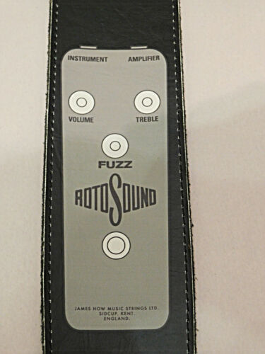 """Henry Heller HRP25 Vintage Rotosound RFB1 Fuzz Pedal Graphic 2 1//2/"""" Leather BlK"""