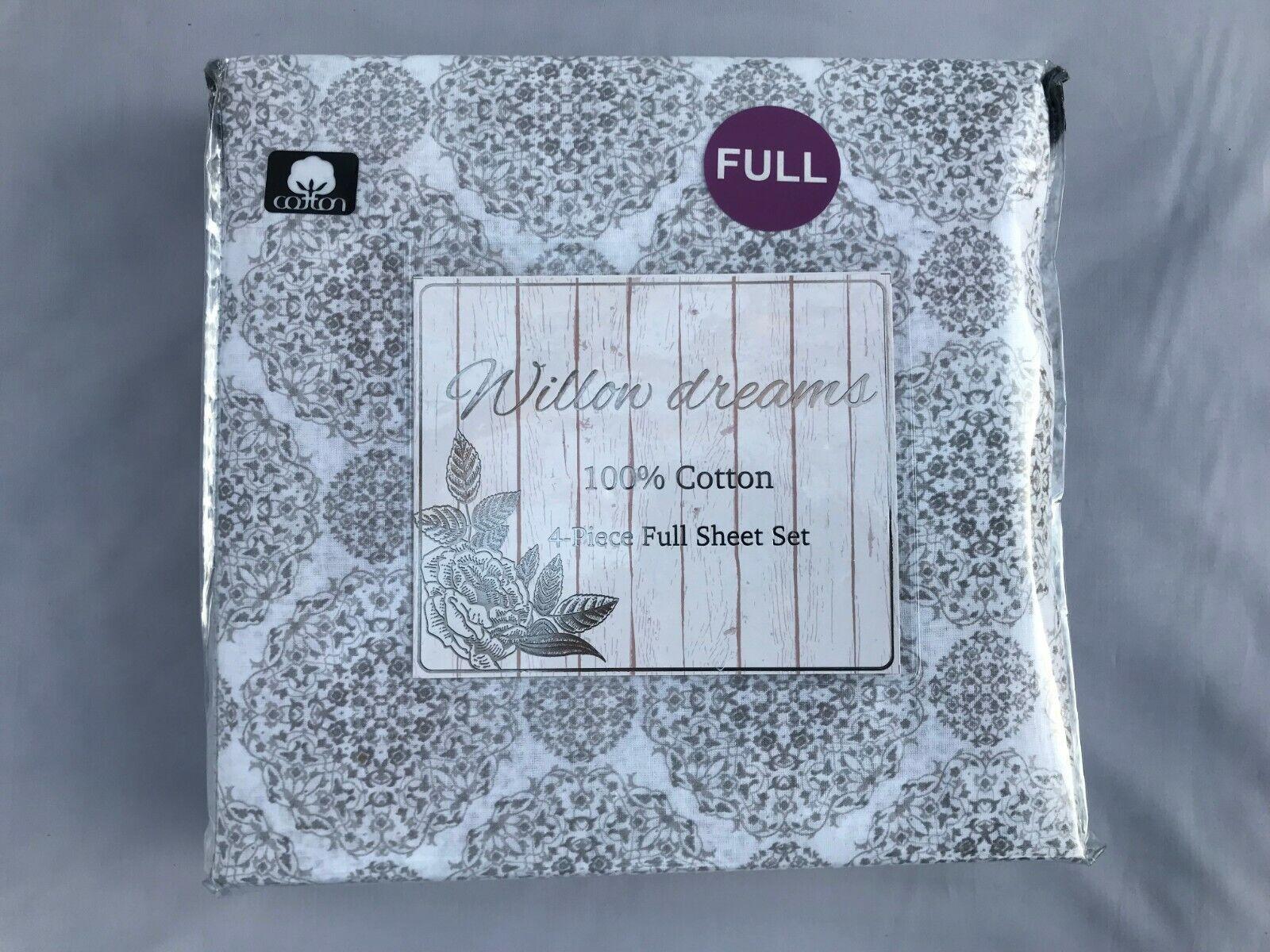 4 Piece Printed Full Sheet Set 100% Cotton Full Größe Willon Dreams