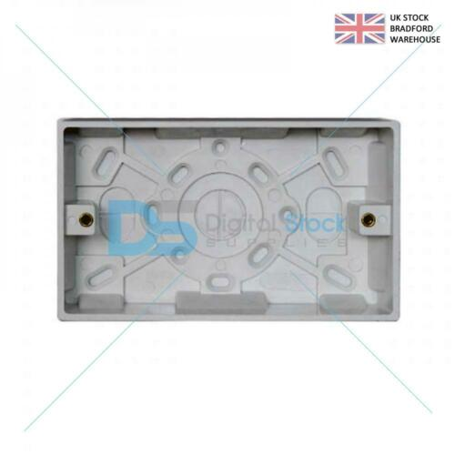 Deep Plastique Double 2 Gang Surface Mounted Pattress Back Box 35 mm-Blanc