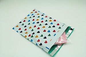 100 14.5x19 Colorful Hearts Designer Poly Mailers Envelopes Boutique Custom Bags