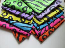 12 Neon ANIMAL PRINT Polyester BANDANNAS BANDANAS party supplies FREE S/H scarf