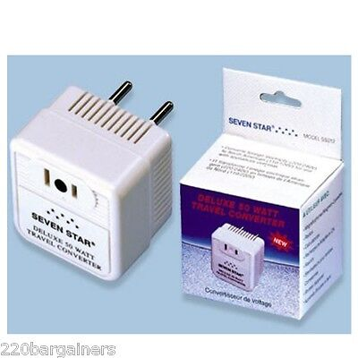50 Watts Deluxe Voltage Converter 220 Volt down to 110 Volts Travel Adapter