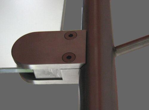 Edelstahlfinisch Glashalter Glasklemme Edelstahloptik für Rund Rohr 33,7 mm