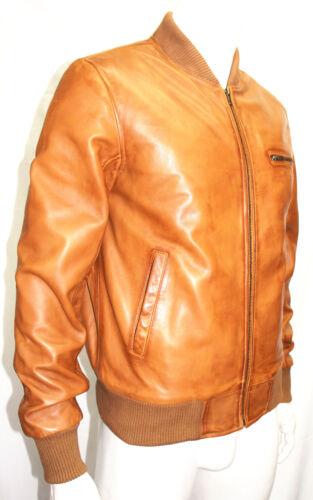 Kirk Men/'s Gents Tan Bomber Designer Fashion Real Soft Lambskin Leather Jacket