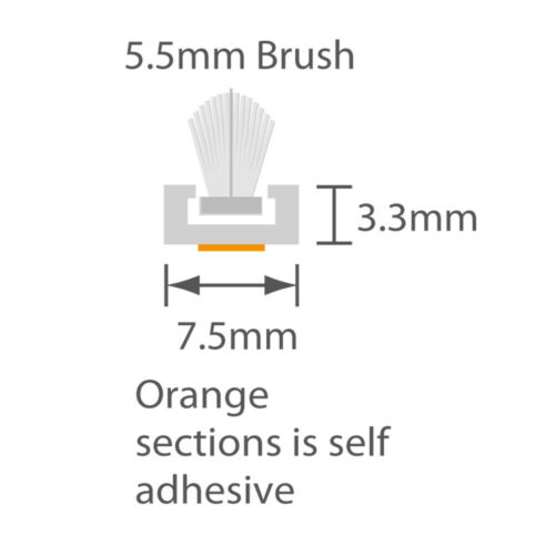 Self Adhésif Pile Transporteur pré-inséré 5.5 mm Brosse 2.2 m longueur de tirant chasse