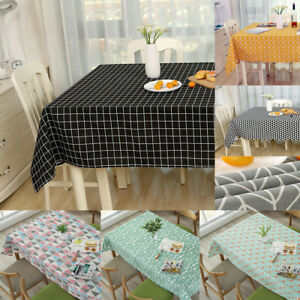 Cotton-Linen-Tablecloth-Check-Grid-Customed-Deco-Dinning-Kitchen-Table-Cover