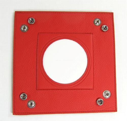 """LEE Red Square Leather Snap Tray for 3/"""" Round handpainted Needlepoint Canvas"""