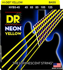 DR NYB5-45 5 string Hi-Def Neon Yellow Coated Bass Guitar Strings 45-125 MED