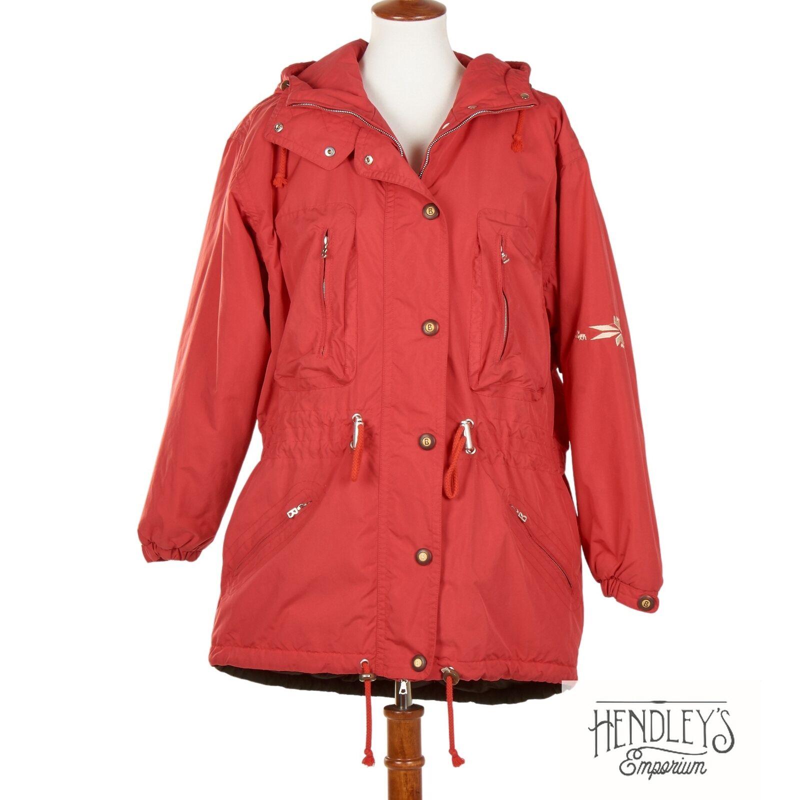 Vintage Womens BOGNER Coat 10 Ruby Red Drawstring Ski Parka Hooded Full-Zip