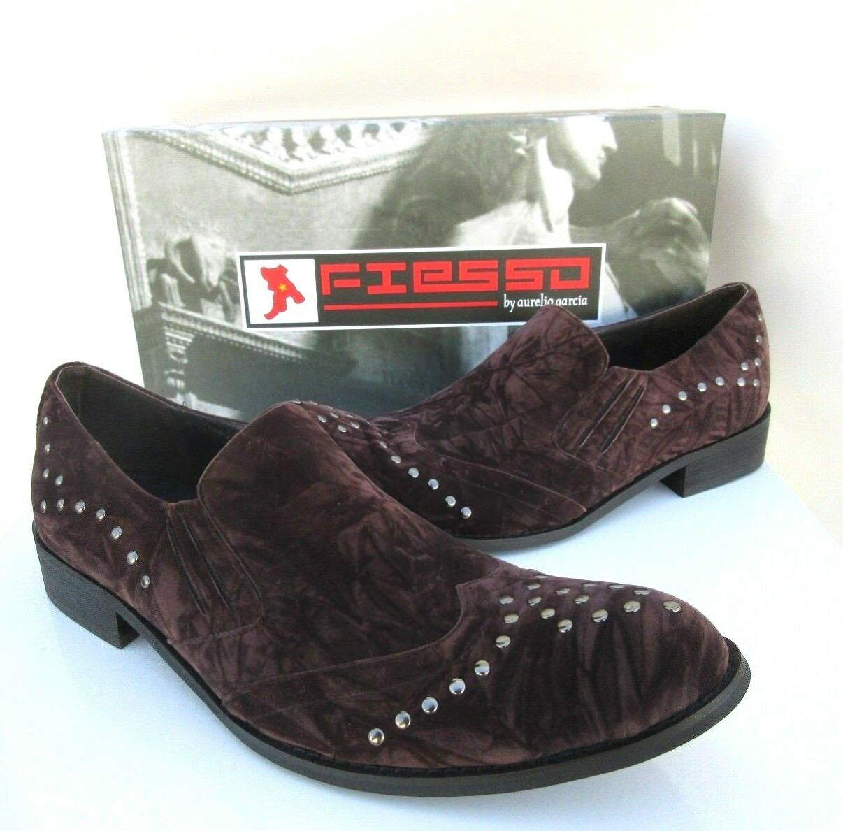 NEW Fiesso Aurelio Garcia Mens Brown Suede Stud Loafer shoes Style FI-8429 Sz 8