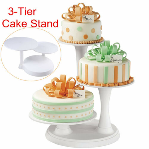 3 Tier White Round Cake Rack Food Display Stand Home Party Wedding Holder Gift