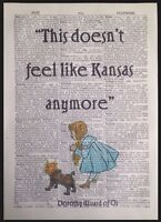 Wizard Of Oz Quote Vintage Dictionary Page Print Wall Art Picture Dorothy Kansas