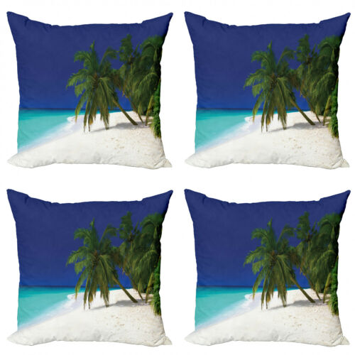 Ambesonne Tropical Cushion Cover Set of 4 for Couch and Bed in 4 Sizes
