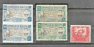 BOLIVIA-LOT-Sc-310-by-2-one-BLUE-INSTEAD-GREEN-312-PAIR-IMPERF-SEE-DESCRIPTION