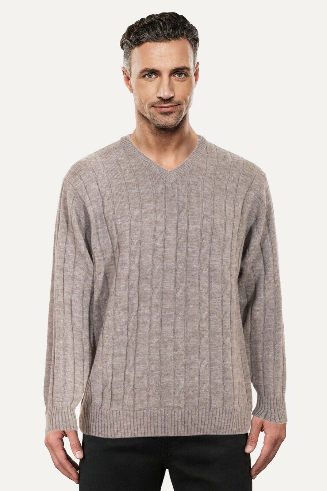 Ansett Pure wolleCable Knit V Neck Jumper schweißer Knitwear Sable Beige Cream