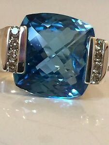$1350 David Yurman Large Topaze Bleue Diamant Déco Ice Ring-afficher Le Titre D'origine