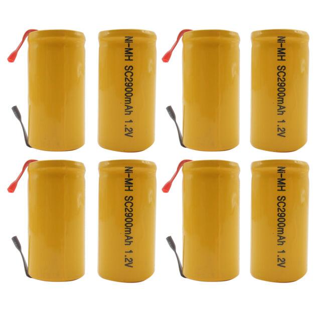 8PCS Sub C 2900mAh 1.2V Ni-MH Rechargeable Battery Tabs Power Tools RC Orange