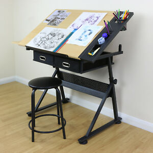 Image Is Loading Adjustable Drawing Board Drafting Table With Stool Craft