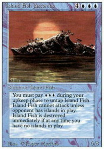 4 Island Fish Jasconius ~ Moderately Played 3rd Edition Revised 4x x4 Playset Ul