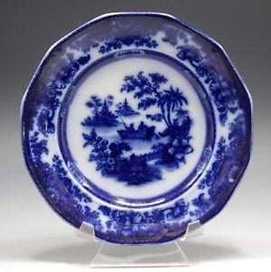 J-HEATH-STAFFORDSHIRE-ANTIQUE-TONQUIN-FLOW-BLUE-PLATE-CHINOISERIE-C-1850