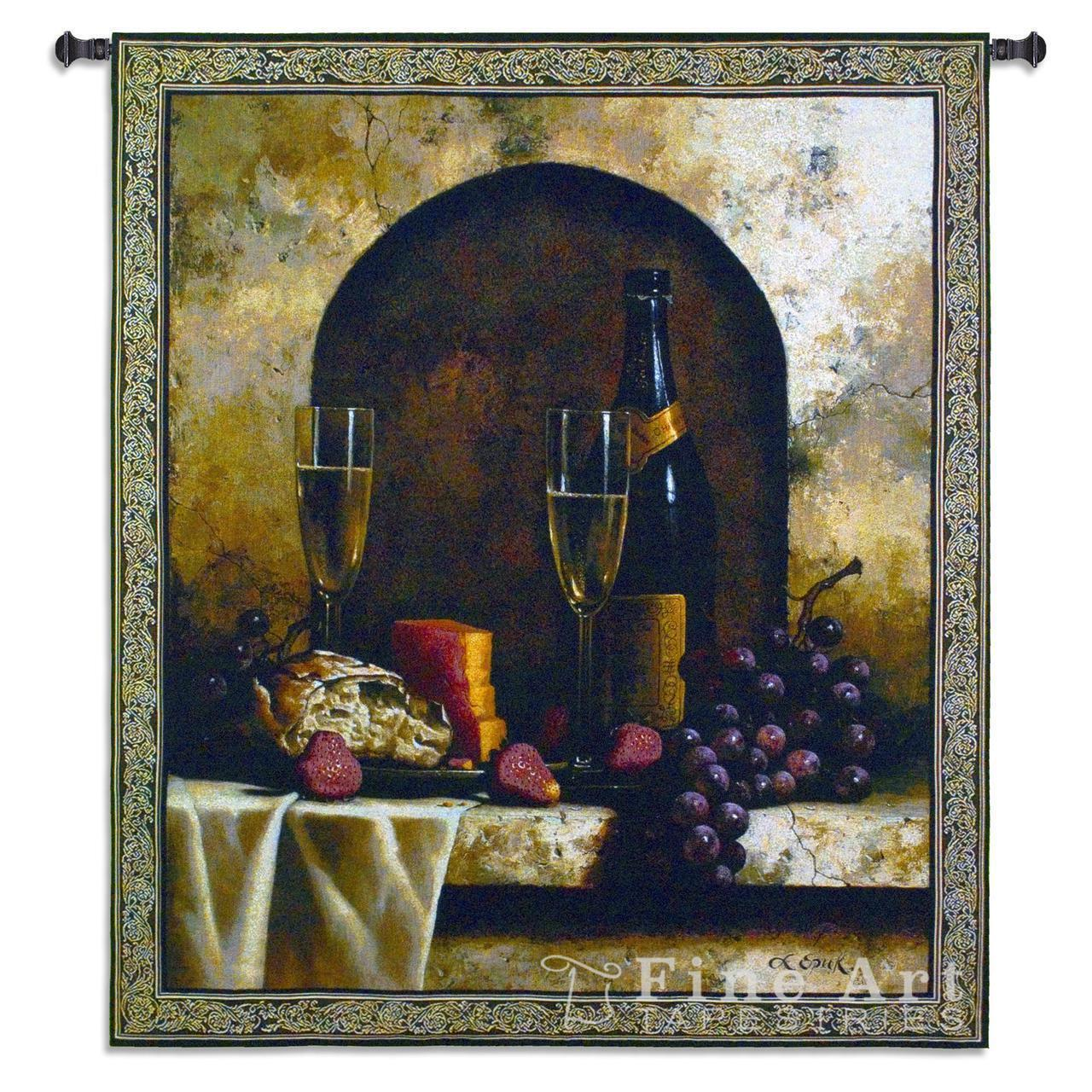 Date to Remember Wine Still Life Tapestry Wall Hanging 46 x53